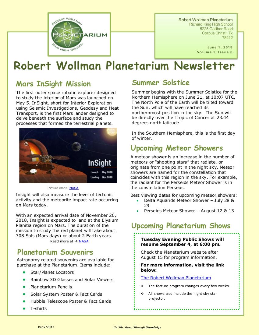 Planetarium Newsletter 5-6